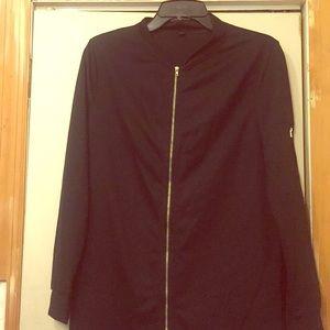 long black zipper jacket